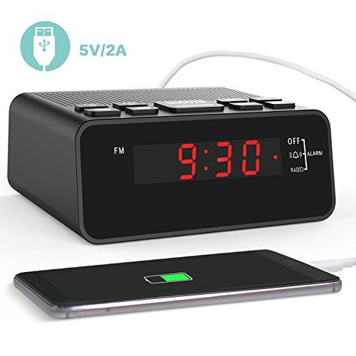 USB Radiowecker, Digitaler Wecker Mit USB Schnellladung, AM/FM Radio,  Schlafzeitmesser, Dimmer Einstellbarer Helligkeit, Schlummerfunktion, 0.6u201d  Digitaler ...
