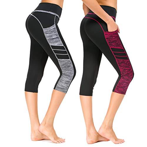 a0241deb839bb7 Munvot Damen Sporthose Sport leggings Tights, B2073 / 2er Pack 0310+0308,  XL DE44-46